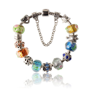 Street Fashion Transparent Colorful Glass Beads Bracelet