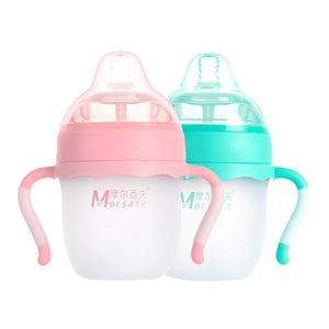 Baby silicone Bottle Feeding Blue 160ml /260ml Pink baby milk feeding Silica Gel bottle with handle
