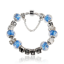 Blue Glass Beads Alloy Ethnic Style Bracelet