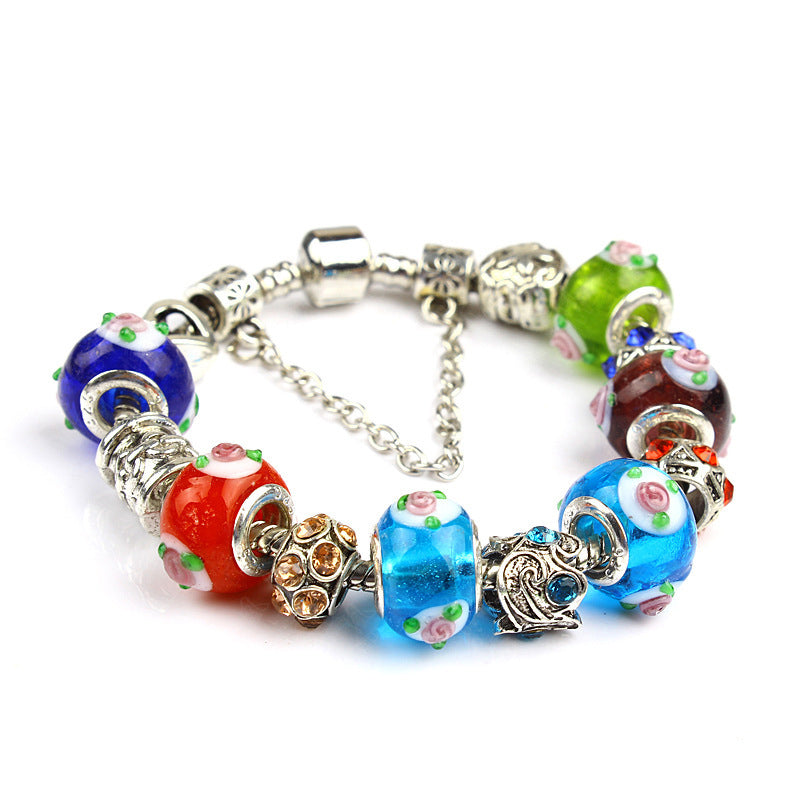 Flower Pattern Glass Beads Bracelet