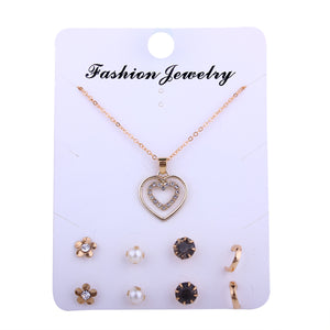 Love Simple Heart Layered Pendant Rose Gold Color Steel Double Layer Necklace Arrow Collarbone Chain Woman Jewelry