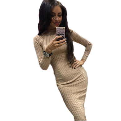 Women's Autumn Spring Dresses Robe Sexy Black Midi Sheath Slim Bodycon Dress Long Sleeve Elegant Package Hip Vestidos