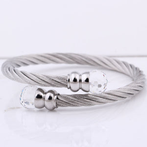 Titanium Steel Chains Faux Crystal Decorated Closure Bracelet