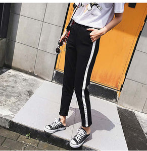 Top Fashion Women Leather Striped Harem Pants Women Black Casual High Waist Pants Drawstring Loose Trousers Pantalon Femme