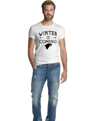 Mens Letter Printed Winter Is Coming T-Shirt Summer Hip Hop Short Sleeve O-Neck Tee Fashion Streetwear Tops