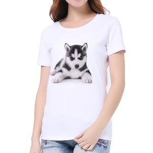 Women's T Shirt CUTE Cat And Dog Printed Shirting Lady's Casual Coat And T-Shirt
