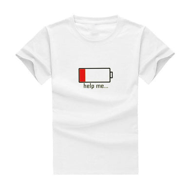 Summer T-shirt Batteries Help Me funny t shirts 100% cotton high quality men's T-shirts harajuku fitness t-shirt men tops