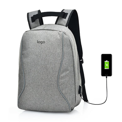 Designed Curve Detail Anti-Theft Backpack with External USB Port