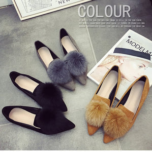 Classical Pump Shoes Fur Ball Detailed Flat Shoes