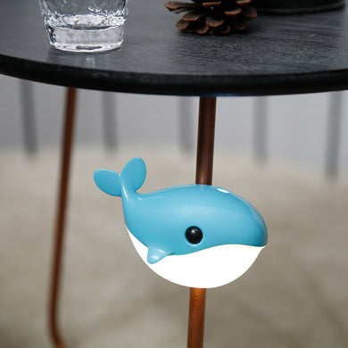 Creative small blue whale led smart night light USB charging cabinet human body induction lamp