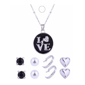 New Fashion heart Circle love Letter Necklace Female silverplated jewelry with zircon