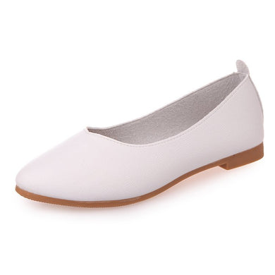 Genuine Leather Flat Bottom Grandma's Shoe Girl's New Version Of The New South Korean Version Of Spring And Summer