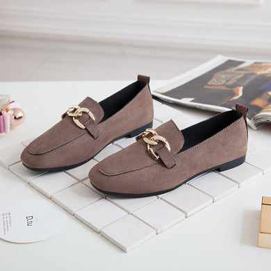 New Type Of Abrasive Leather Face Square Head Single Shoes Of Metal Buckle Soft Bottom Female Shoes Flat