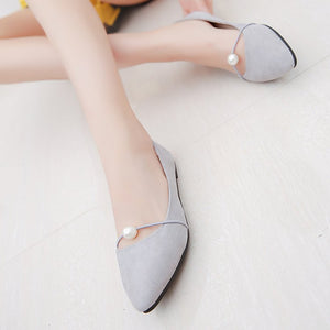 Spring Suede Shallow Pointed Pearl Lady's Shoes And Shoe Style Flats