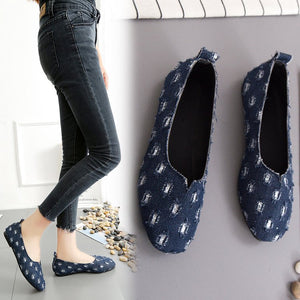 Lazy Man Jeans Canvas Shoes Female Shoes Students Flat Shoes Low Style Shoes