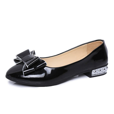 Spring And Autumn New Simple Ladies Shallow Small Shoes Flat Flat With A Bow On The Foot