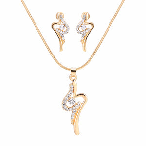 Elegant Simple Gold Necklace Set Rhinestone Pendant Necklace and Earrings Sets Crystal Party Wedding Jewelry