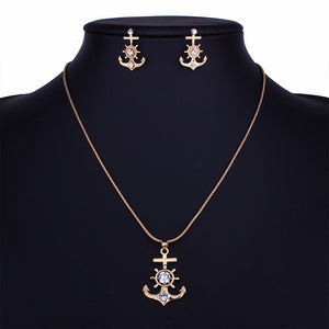 Men's Brand New Stainless Steel Gold Tiny Boat Wheel Rudder Anchor Pendant Necklace Seaman Sailor Navy Gift Women Helm Jewelry