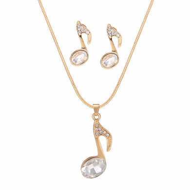Musical Note Imitation Pearl Necklace And Earring Set Gold chain Pendant Jewelry Sets For Women Fashion