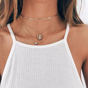 New Gold Long Chain Collar Choker Necklace Set Cute Cross Love Metal Jewelry For Women Wedding Party Fashion