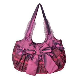 Satin Shell Bow Decorated Shoulder Bags for Ladies