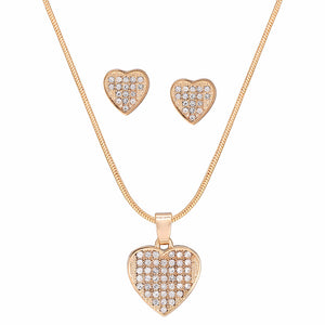 New Fashion Jewelry Gold Color with Heart Shaped Inlay Rhinestone Choker Long Pendant Necklace for Women Gift