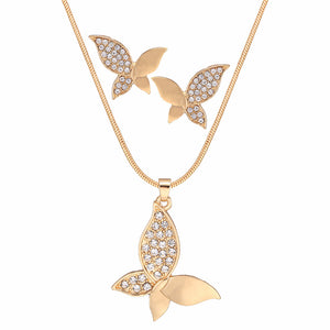 Gold Pendants Chain Necklace And Earrings Set Butterfly Crystal Rhinestone Jewelry Set For Women Fashion