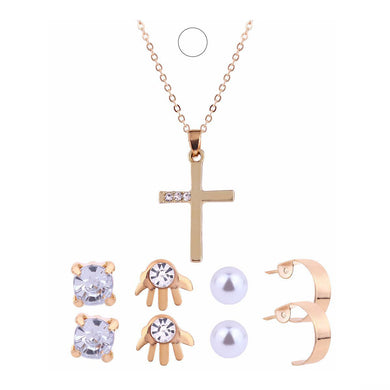 Fashion Gold Jewelry Set for Women Gold Cross Pendant Necklace and Earrings Crystal Pearl Stud Earrings Jewelry