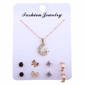 Fashion Gold Jewelry Set 4 Pairs Crystal Stud Earrings Star Moon Pendant Necklace Set for Women Jewelry Set