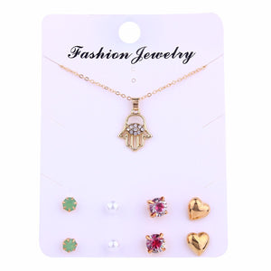 Fashion Gold Jewelry Set Rhinestone Gold Fatima Hand Necklace Crystal Pearl Stud Earrings Set Jewelry for Women