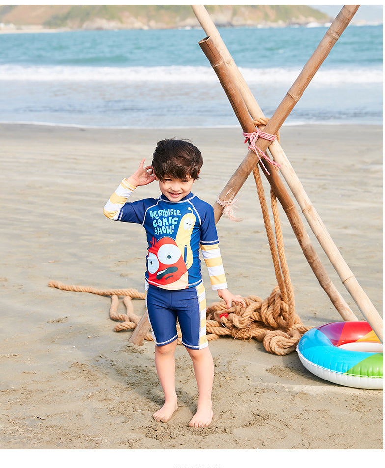 Kids Bathing Suit Baby Clothes Swimwear Children's Boys 2018 New Children Long Sleeve Cute Surfing 28019 Animal Polyester Sierra