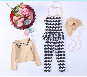 Swimsuit For Girl Children Swimming Suits Girls Children's Swimwear Child Bikini New Cream Trousers Surfing 28012 Solid
