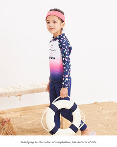 Swimsuit For Girl Children Swimwear Children's 2018 New Long Sleeve Trousers Girls Cute 28027 Animal Polyester Sierra Surfer