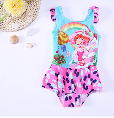 Kids Swimwear For Girls Two Piece 2 Swimming Suits Children Swimsuit New Cute Surf 28055 Animal Polyester Sierra Surfer