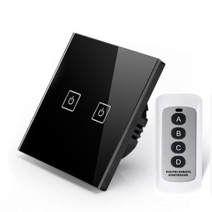 EU/UK Standard 2 Gang 1 Way light switch Black Crystal Glass Wall Touch Screen Switch with RF433 remote control features