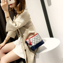 Women Fashion Bucket Mini Handbags Female Causal Messenger Bags Contrast Color Bags Lattice Bags