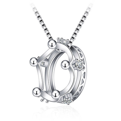 Classic Double Hollow Crown Necklaces for Women Made by 925 Silver Europe Fashion Cown cz Pendant & Necklace Women Gift