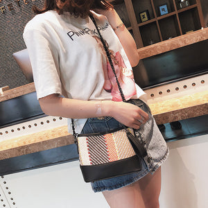 New Woven Bags Women Fashion Bucket Mini Handbags Female Causal Messenger Bags Lattice Bags Contrast Color Bags