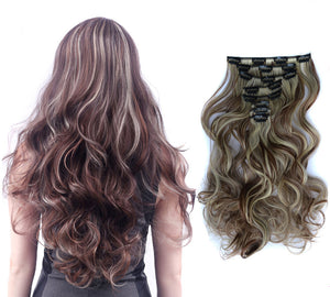 Synthetic Clip in remy Hair Extension Long Curly Clips False Synthetic Hairpieces