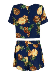Summer Cotton fruit pattern Women's Tracksuit deep blue Set 2 Piece Suits Shorts Crop Tops and Shorts Pants Outfit