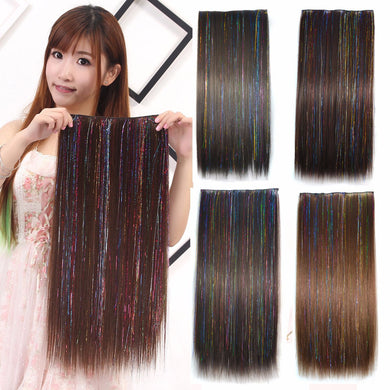 HAIR SW Colored Highlight Synthetic Hair Extensions Clip In One Piece Color Strips 60