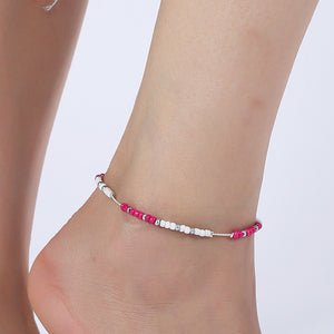 Fashion Crystal Anklet Set Vintage Handmade Ankle Bracelet for Women Party Summer Beach Accessories