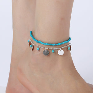 Bohemian Geometric Anklet Bracelet On The Leg Fashion Silver Color Leaf Anklets For Women Foot Jewelry Beach Ankle Bracelet Gift