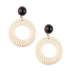New Double Circle Round Long Dangle Earrings Alloy Black Color Steampunk Style Earrings For Female Party Jewelry