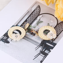 Fashion Vintage Hollow Out Triangle Marble Round Beads Leaf Earrings For Woman Girls Jewelry