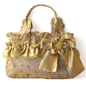 Satin Shell Elegant Handbag with Flowers Embroidery