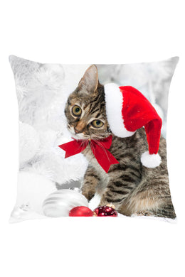 Adorable Christmas Kitten Print Pillow Case