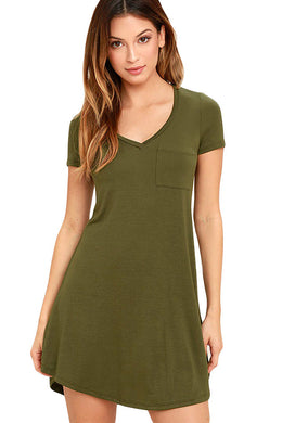 Army Green Trendy Sweetheart Neck Pocket Shirt Dress