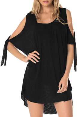 Black Breezy Basic Convertible Cold Shoulder Tunic Cover-Up