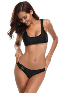 Black Crop Top Bikini Crisscross Detail 2pcs Swimsuit